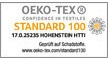 The human ecology credentials of our products are guaranteed by STANDARD 100 by OEKO-TEX®