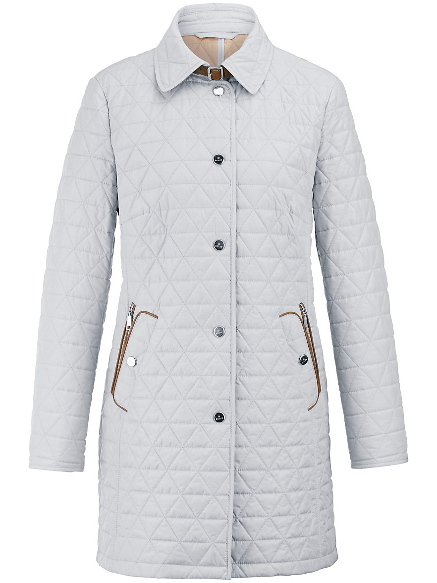 Basler-Long quilted jacket-light grey : white quilted coat - Adamdwight.com