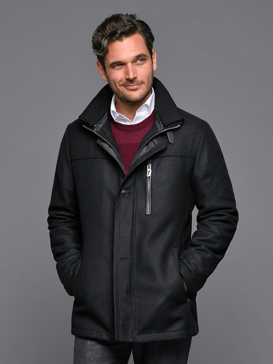 Bugatti-Jacket with zip-off wool collar-black