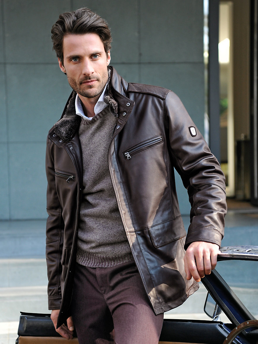 bugatti-la veste en cuir-marron