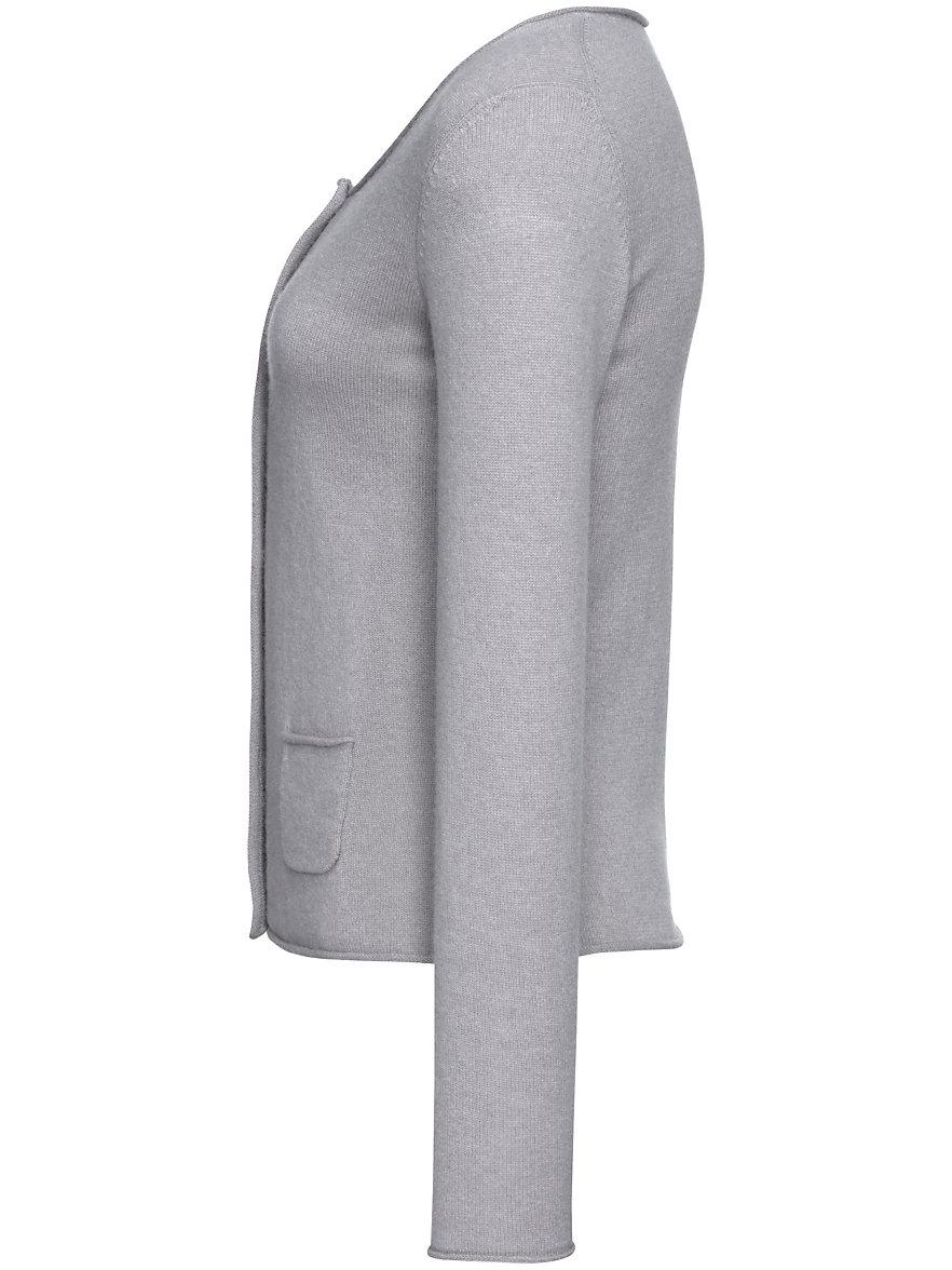 FLUFFY EARS-Cardigan in 100% cashmere-light grey-mélange