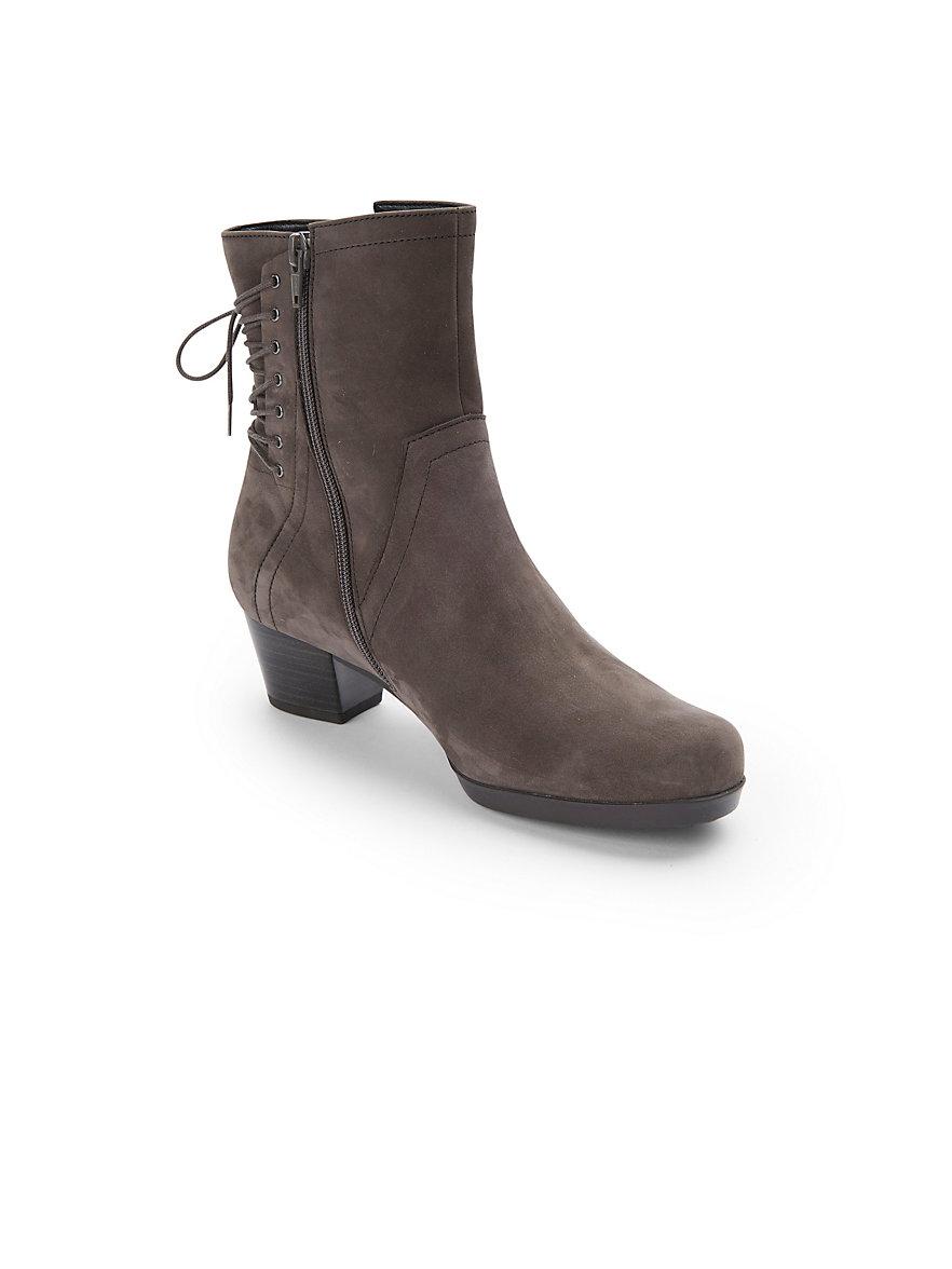 gabor-les bottines à zip et lacets en cuir nubuck-taupe