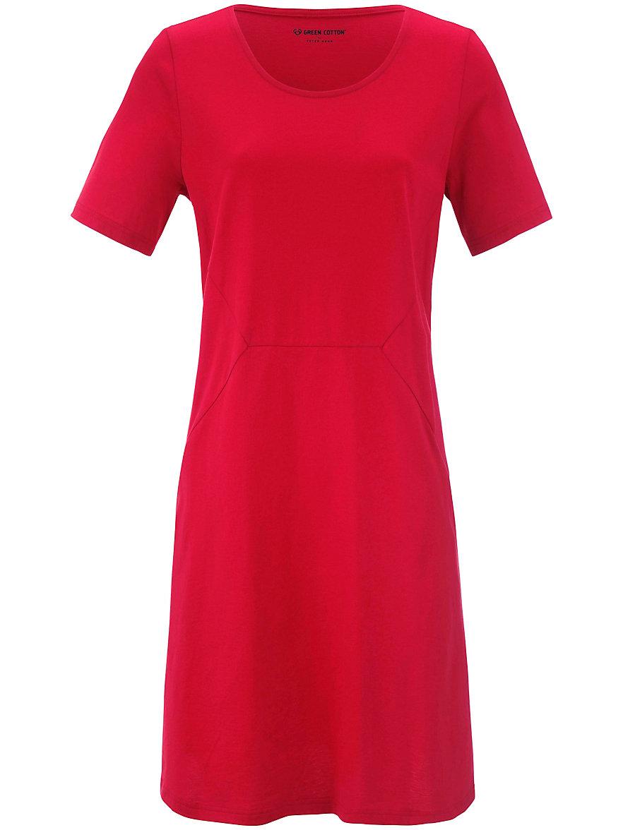 Green Cotton-Jersey-Kleid mit 1/2 Arm-Rot