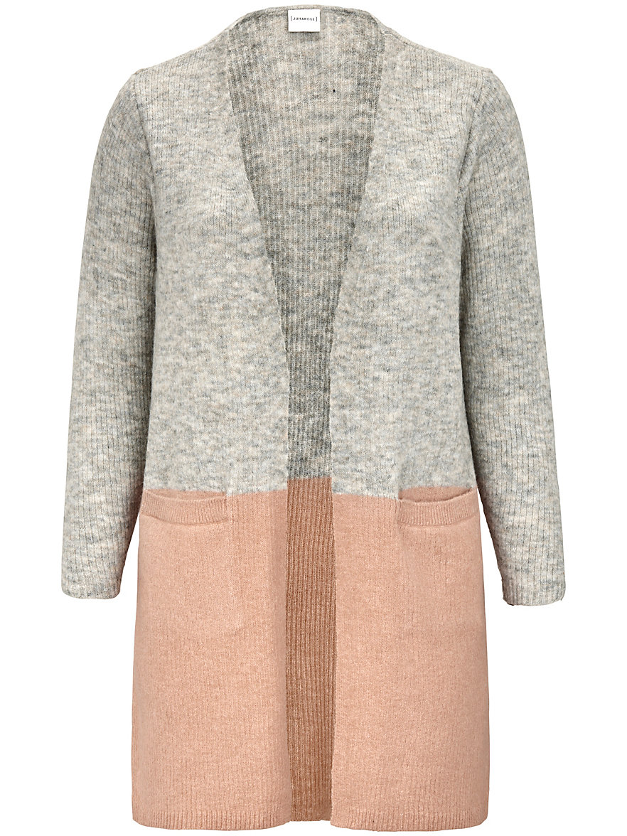 JUNAROSE-Cardigan in an open style-grey-mélange/pale pink