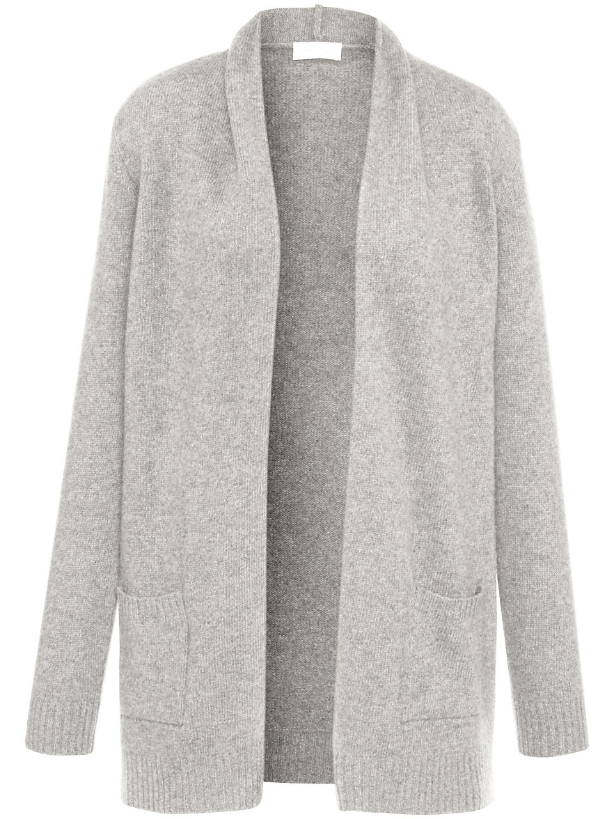 Peter Hahn-Cardigan in 100% new milled wool-light grey-mélange