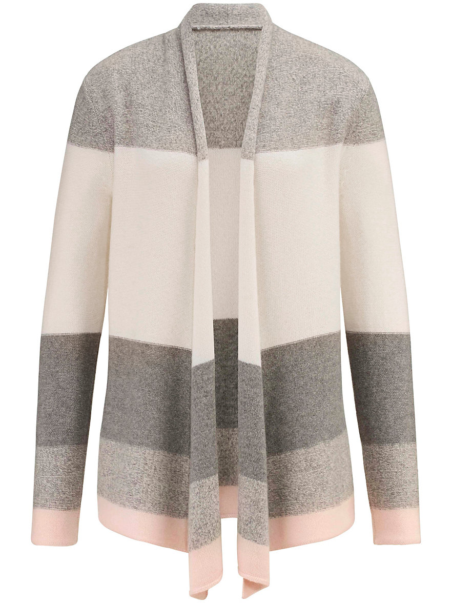 Peter Hahn Cashmere-Cardigan 100% cashmere-powder pink/grey/wool white