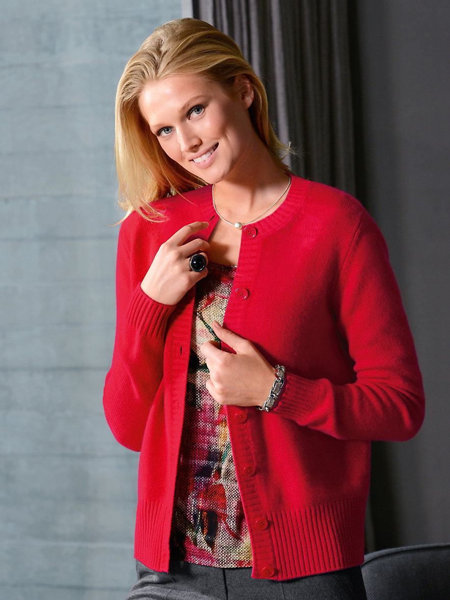 Peter Hahn Cashmere-Cardigan 100% cashmere-red.