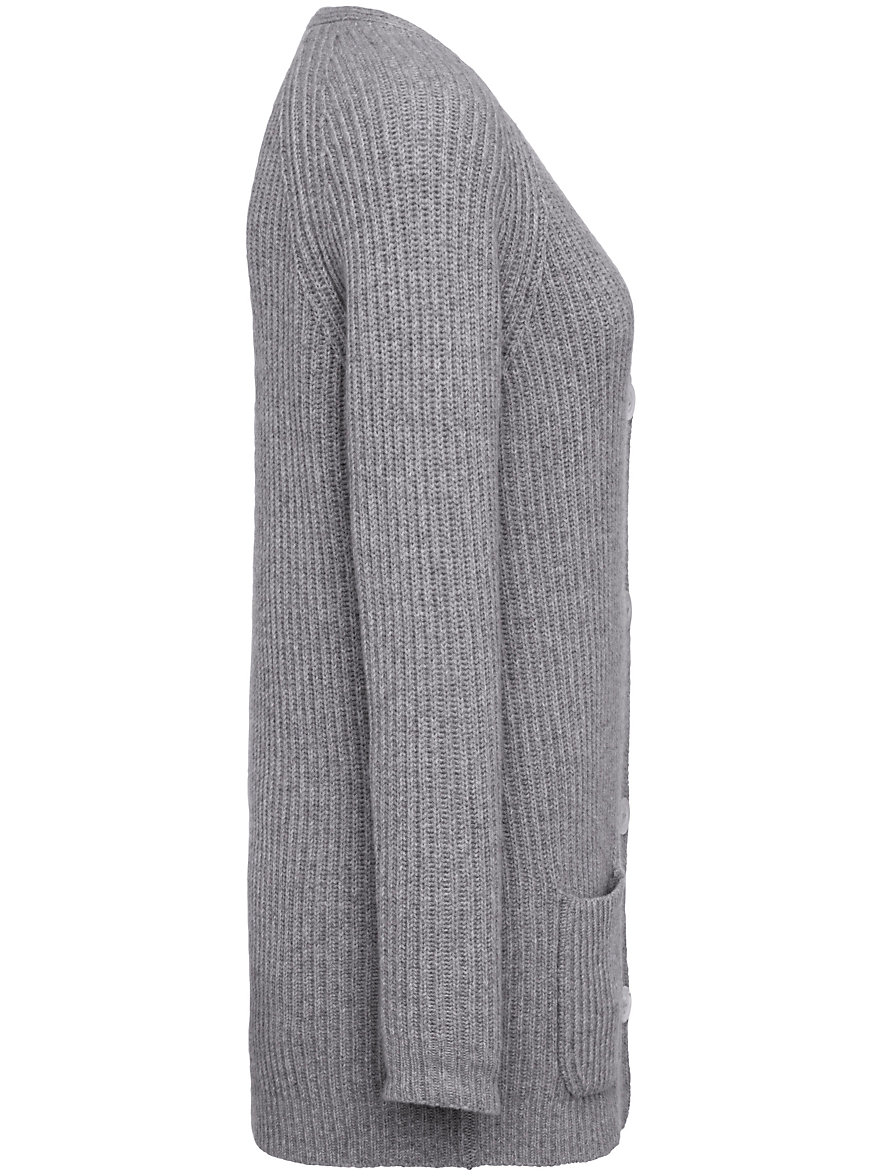 Peter Hahn Cashmere Gold-Cardigan in 100% cashmere-light grey-mélange