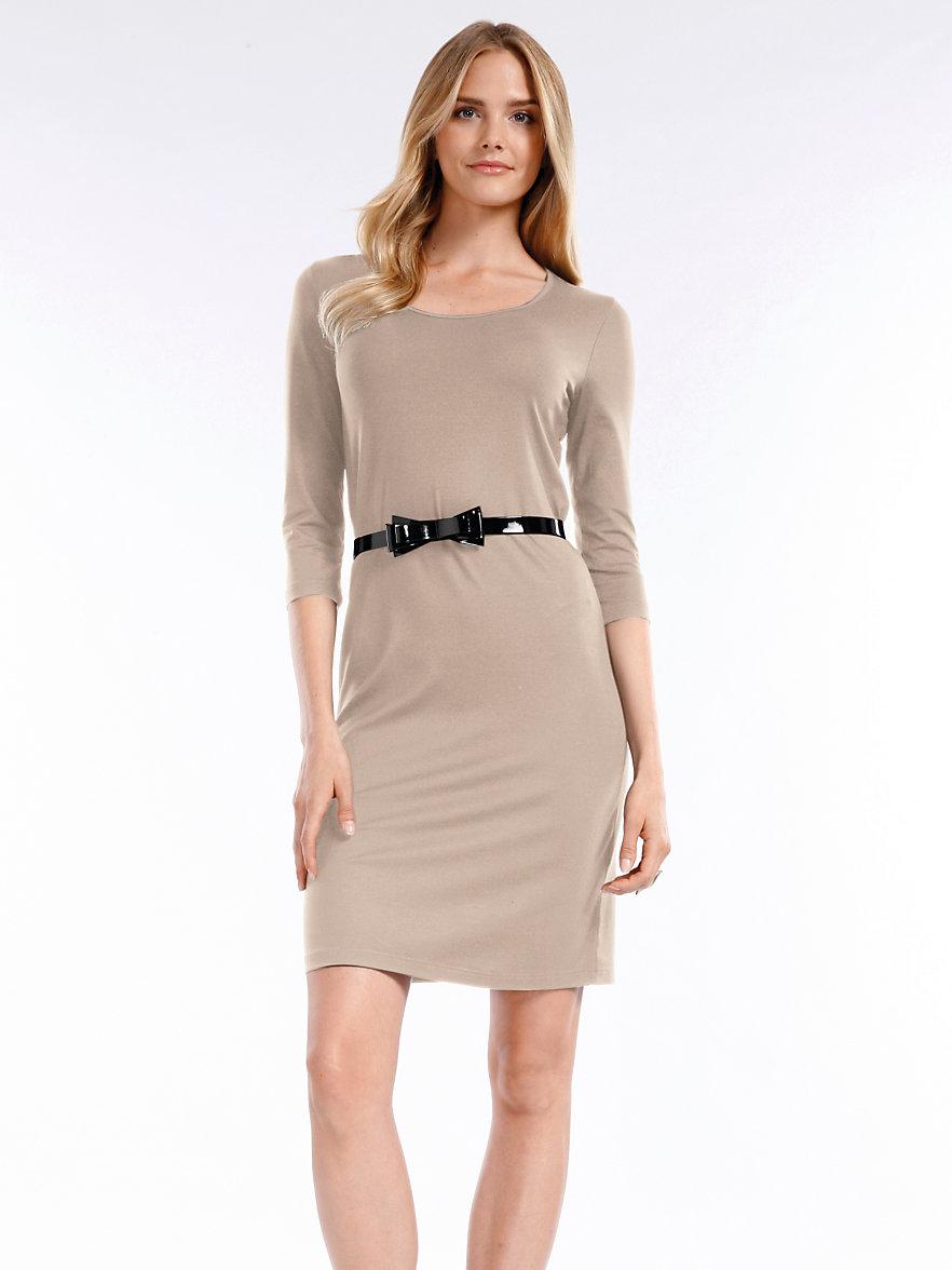 Peter Hahn-Kleid mit 3/4-Arm-Taupe/Weiß