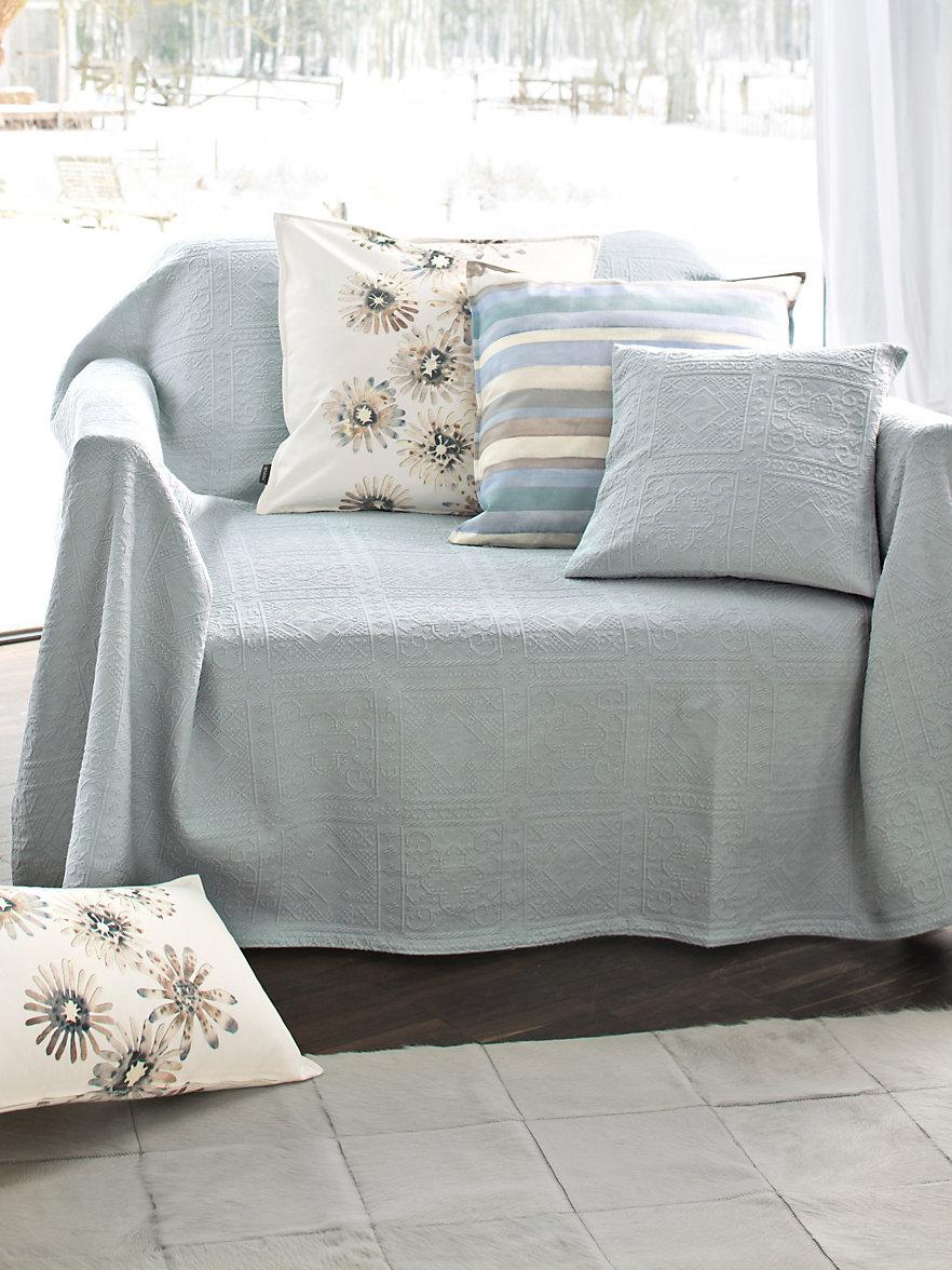 Peter Hahn-Le jeté pour canapé ou lit, 250x270cm-bleu ciel
