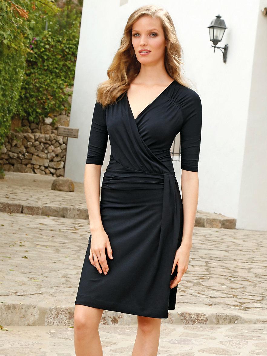Uta Raasch-Jersey-Kleid mit langem 1/2-Arm und V-Ausschnitt-Schwarz