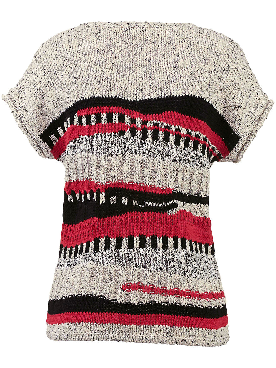 Uta Raasch-Round neck pullover with drop shoulders-ecru/multicoloured