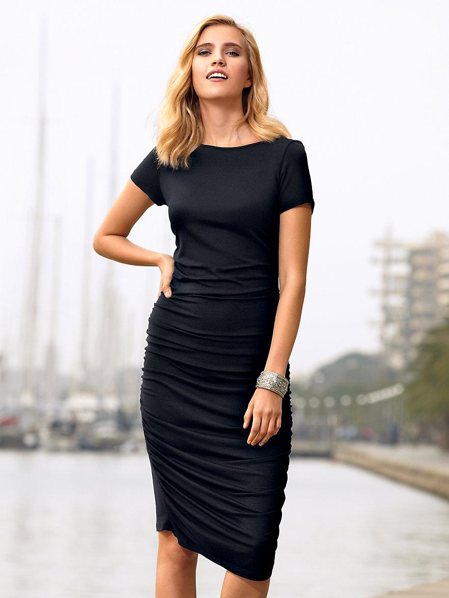 Uta Raasch-Schmales Kleid mit U-Boot-Ausschnitt-Schwarz