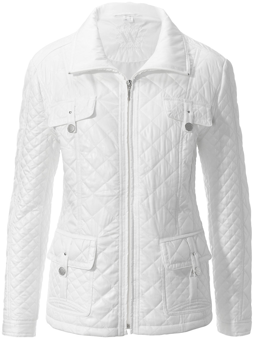 Wega-Quilted jacket-off-white : white quilted coat - Adamdwight.com