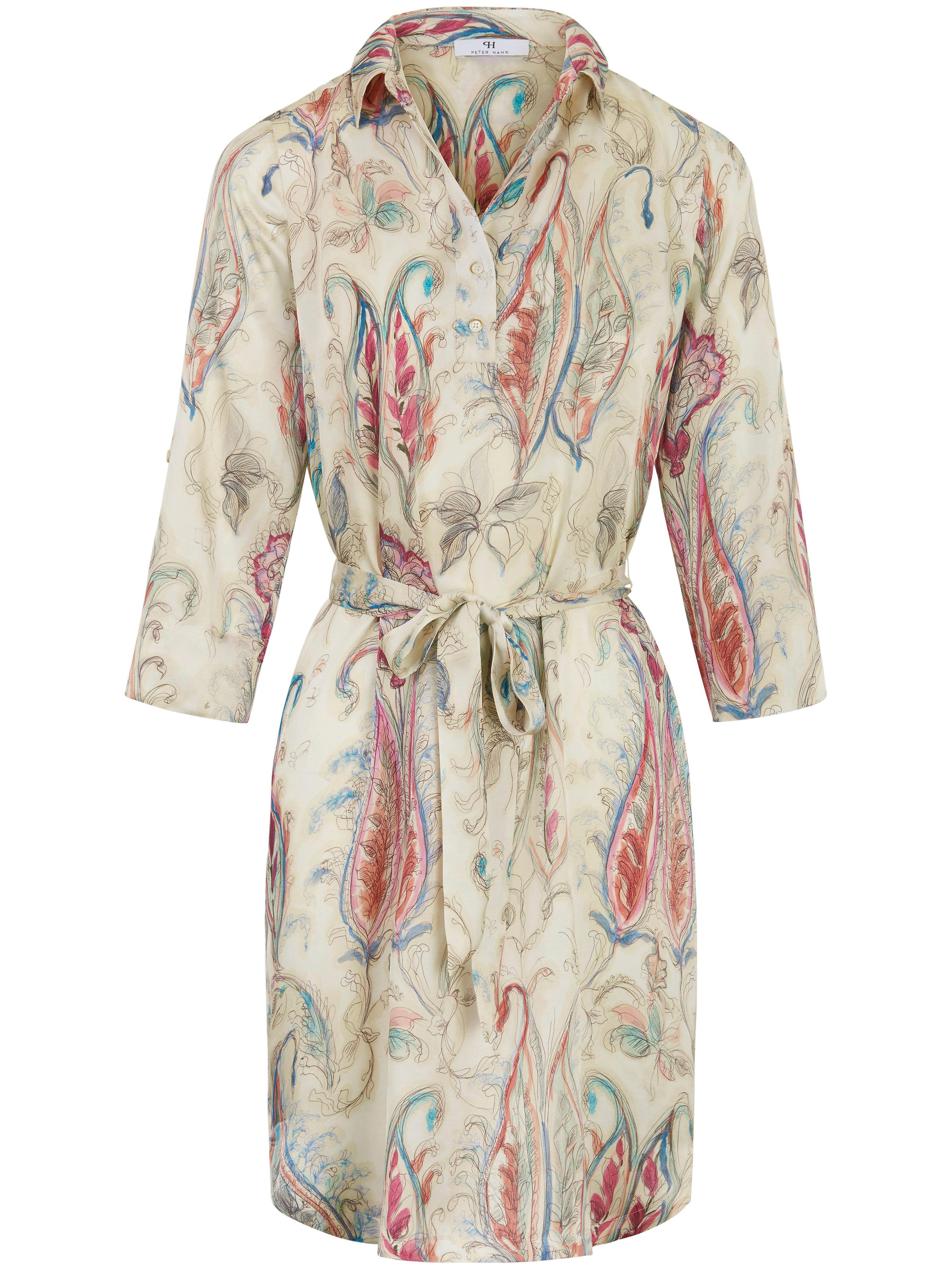 Peter Hahn jurk met 3/4-mouwen en knoopsluiting met lusje multicolor