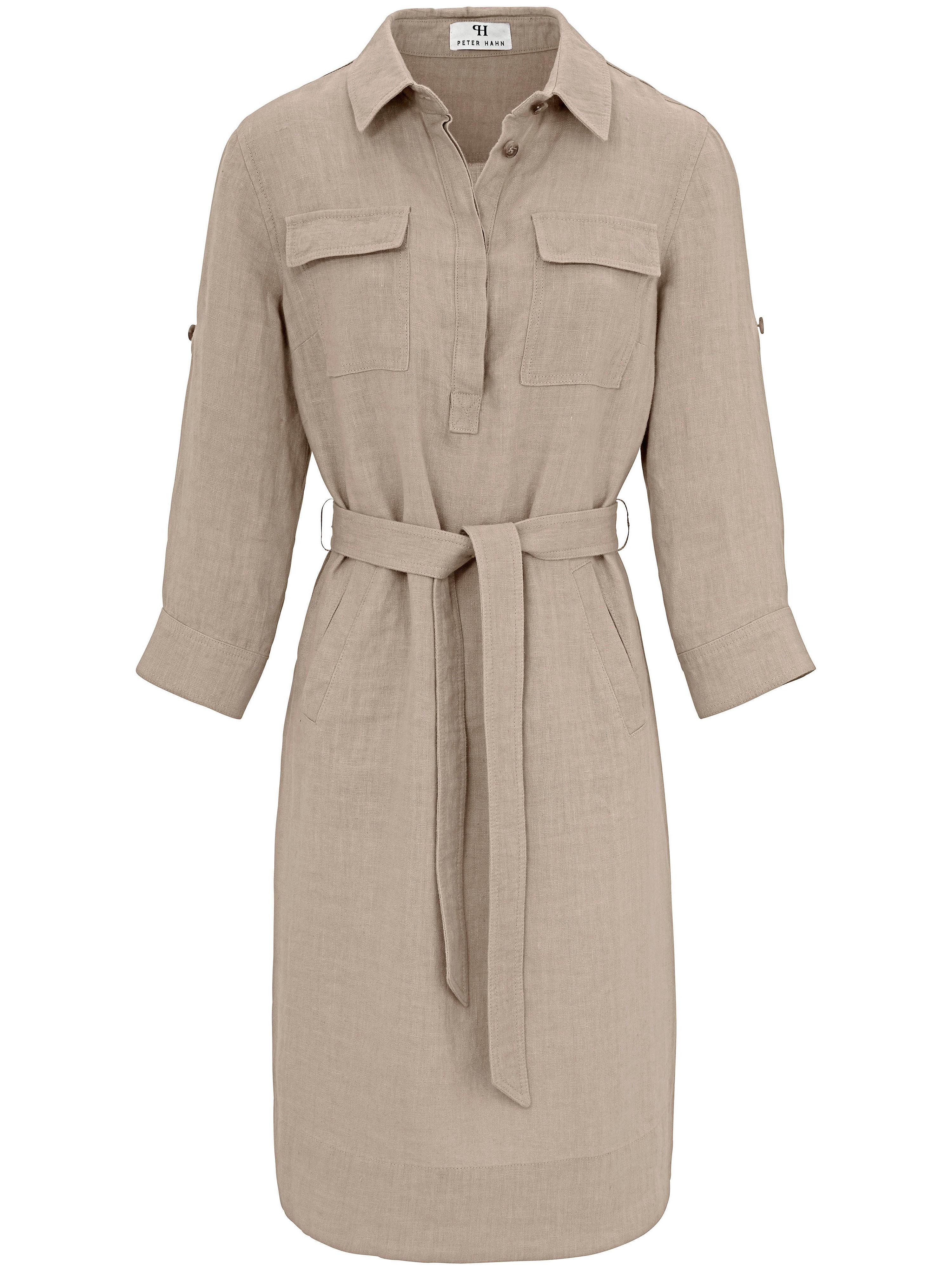 Peter Hahn jurk met 3/4 mouwen van 100% linnen beige