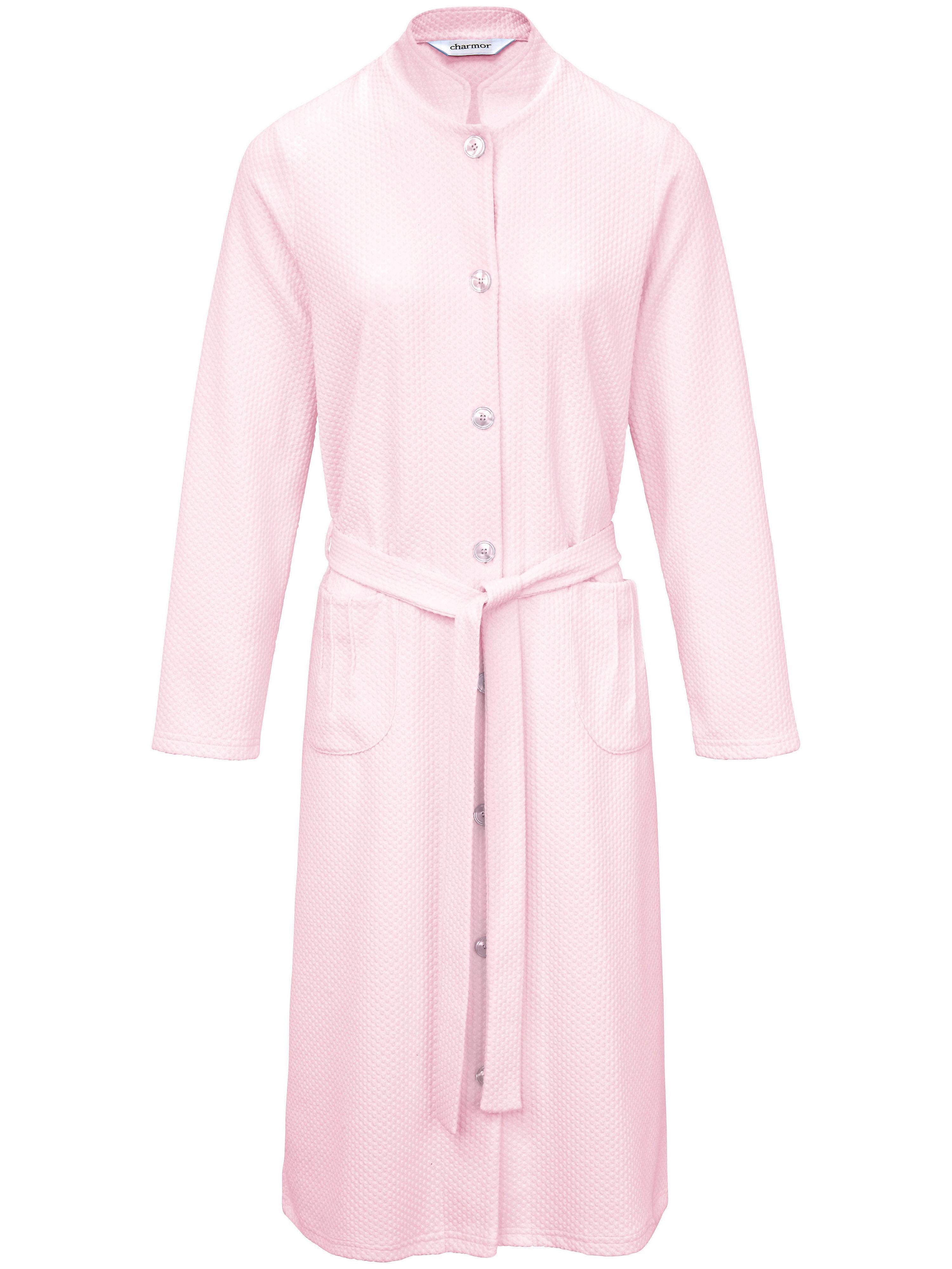 Morgenmantel Stehkragen Charmor rosé | Bekleidung > Homewear > Morgenmäntel | Jacquard | Charmor