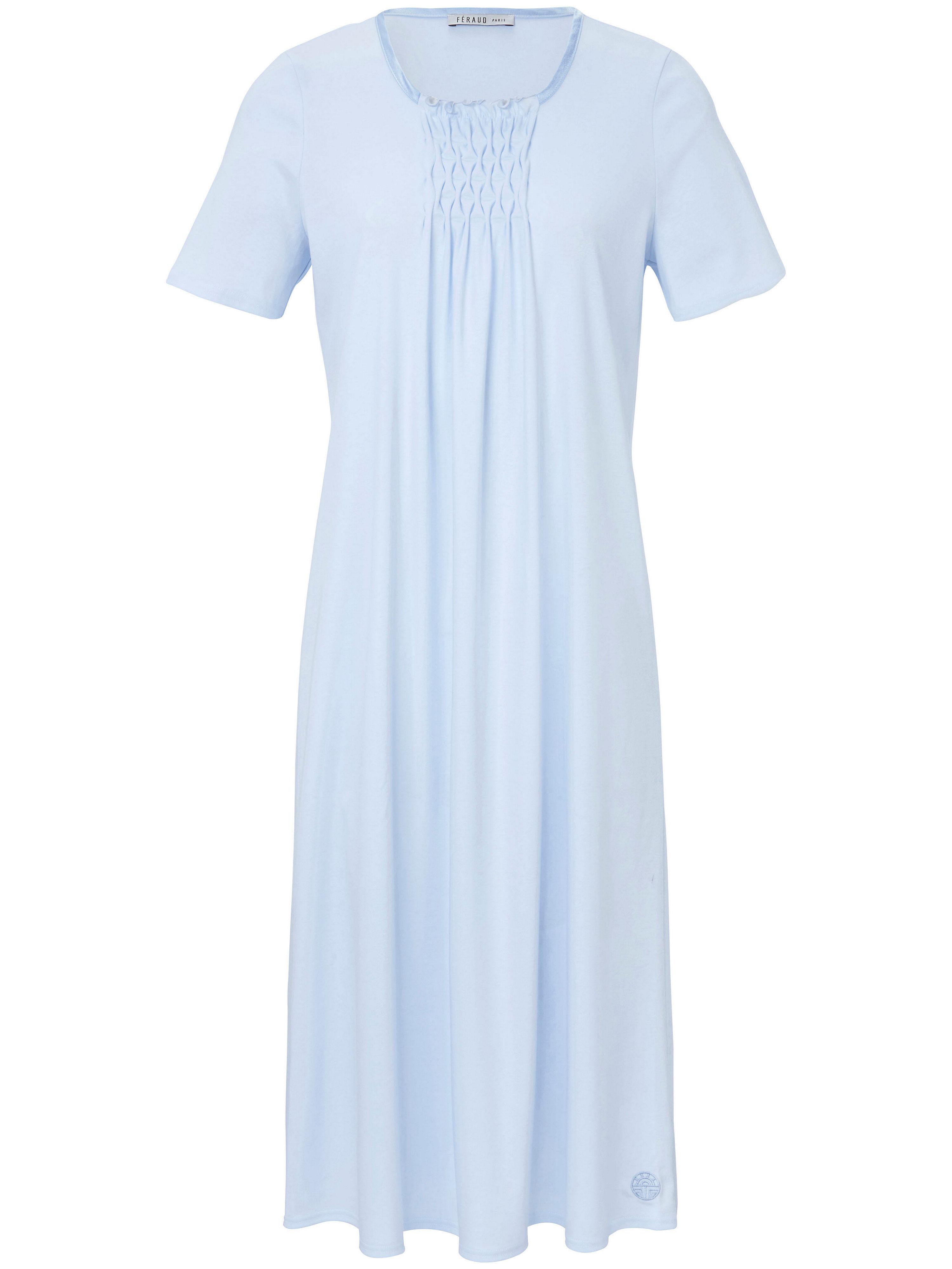 La chemise nuit en pur coton, manches courtes  Féraud bleu
