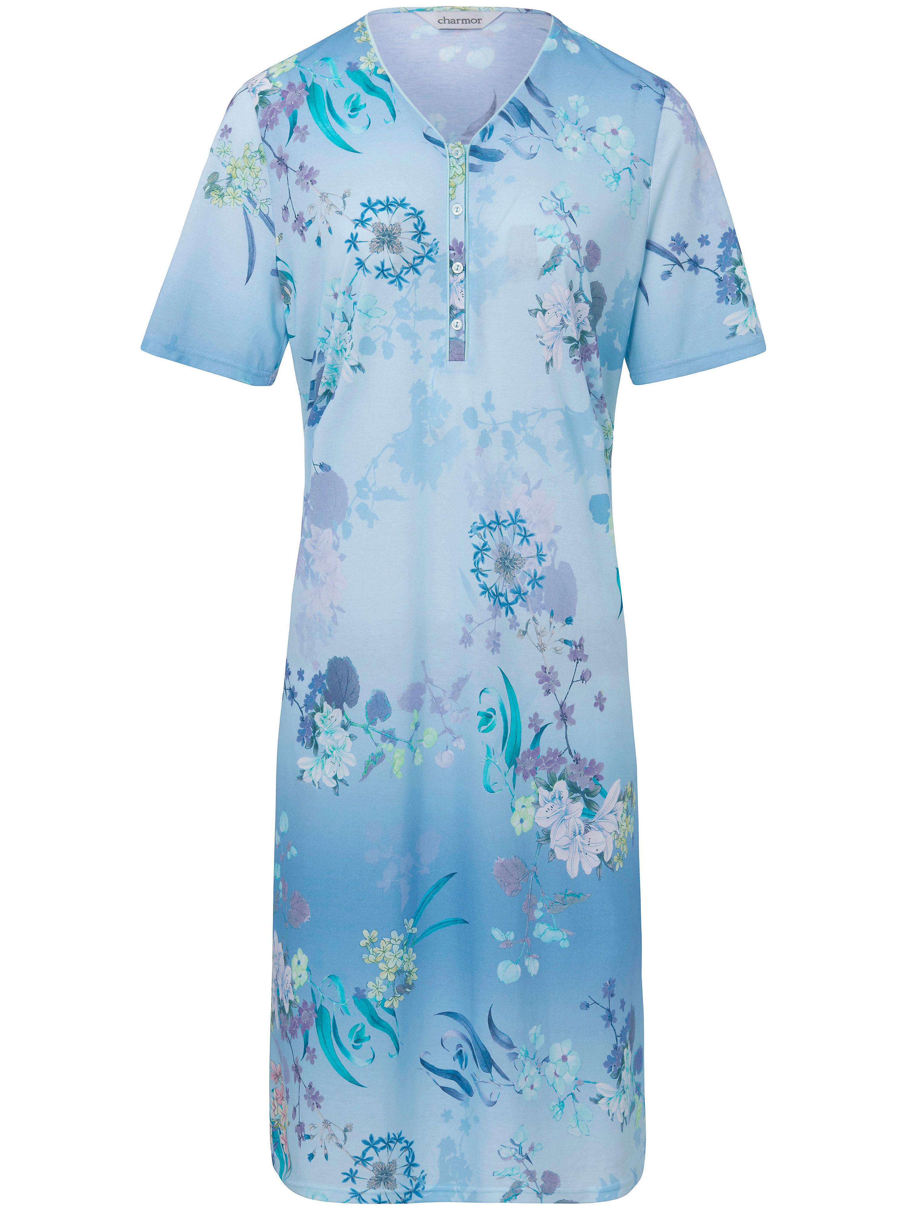La chemise nuit imprimée, manches courtes  Charmor bleu