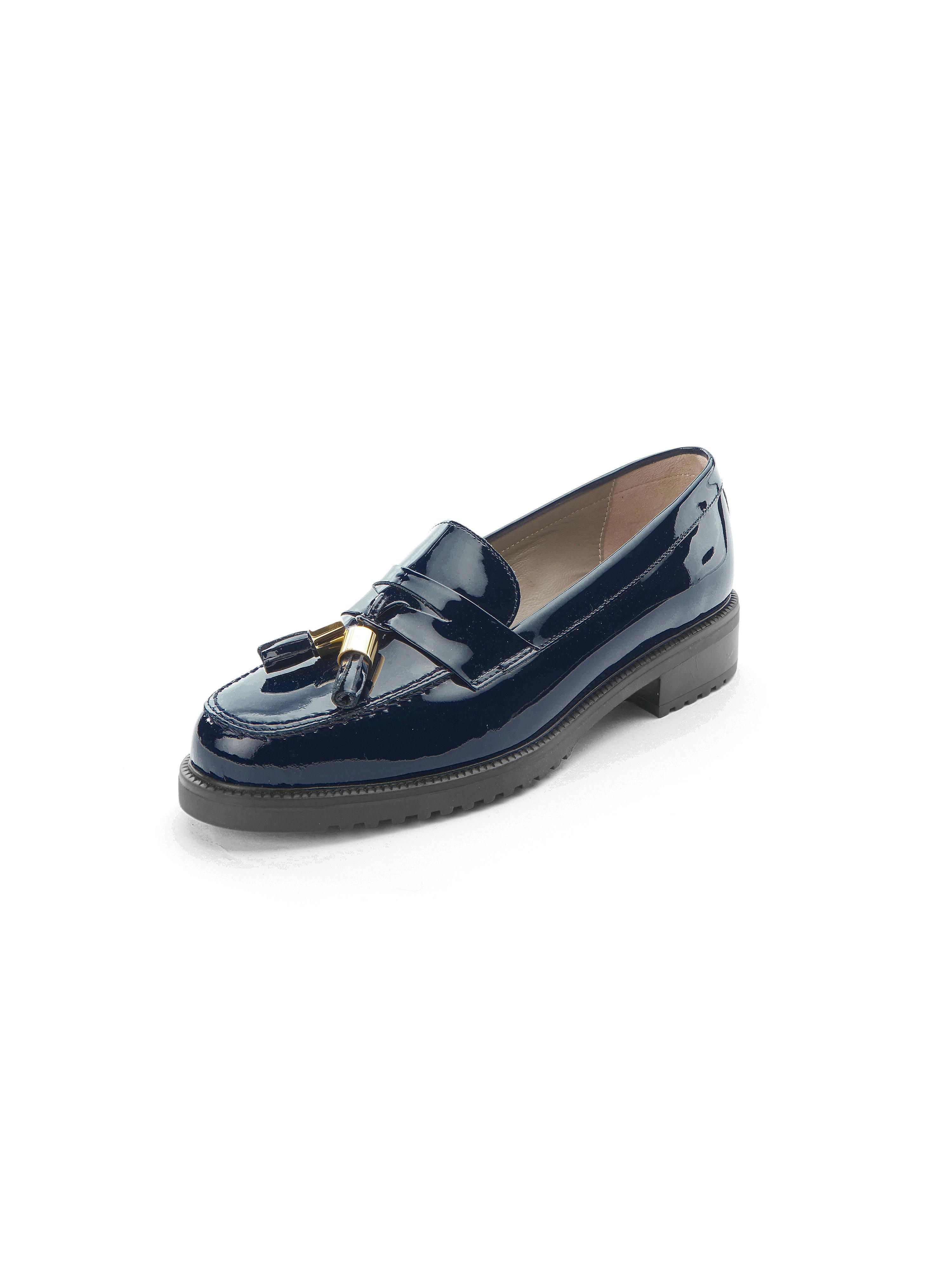 Les mocassins cuir verni Ledoni bleu taille 36