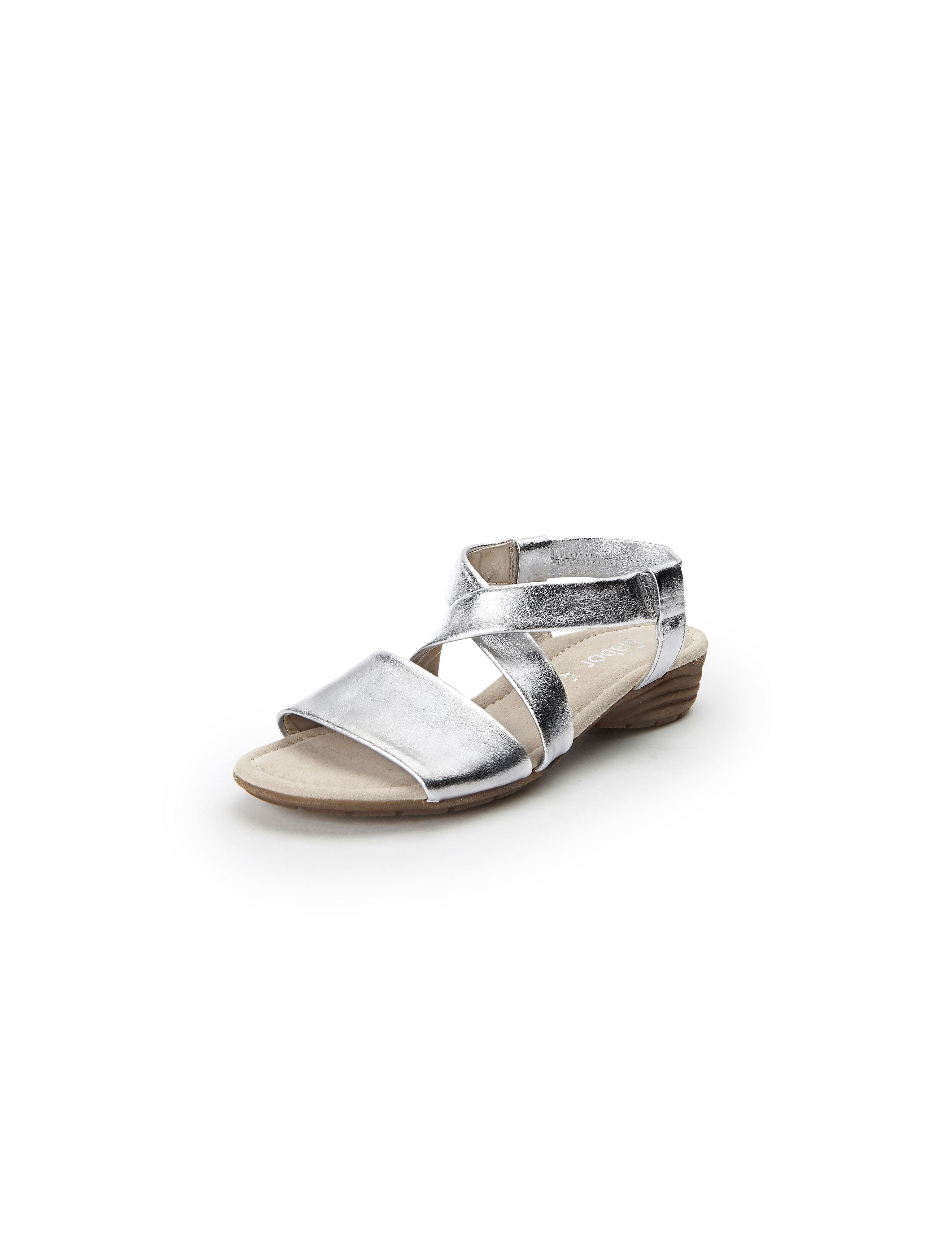 Sandalen van echt leer Van Gabor zilverkleur