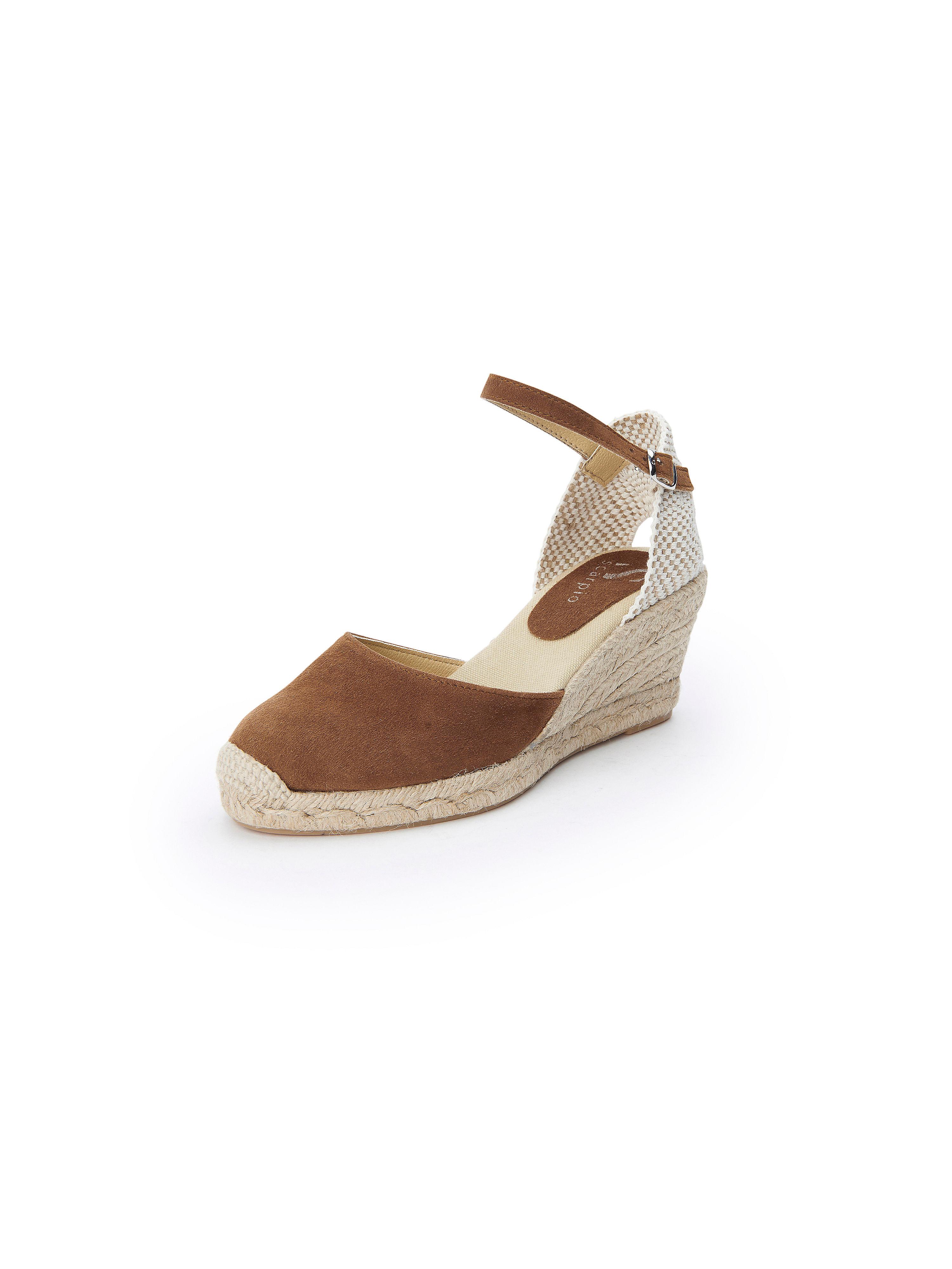 Les sandales cuir velours, talon compensé Scarpio marron taille 39