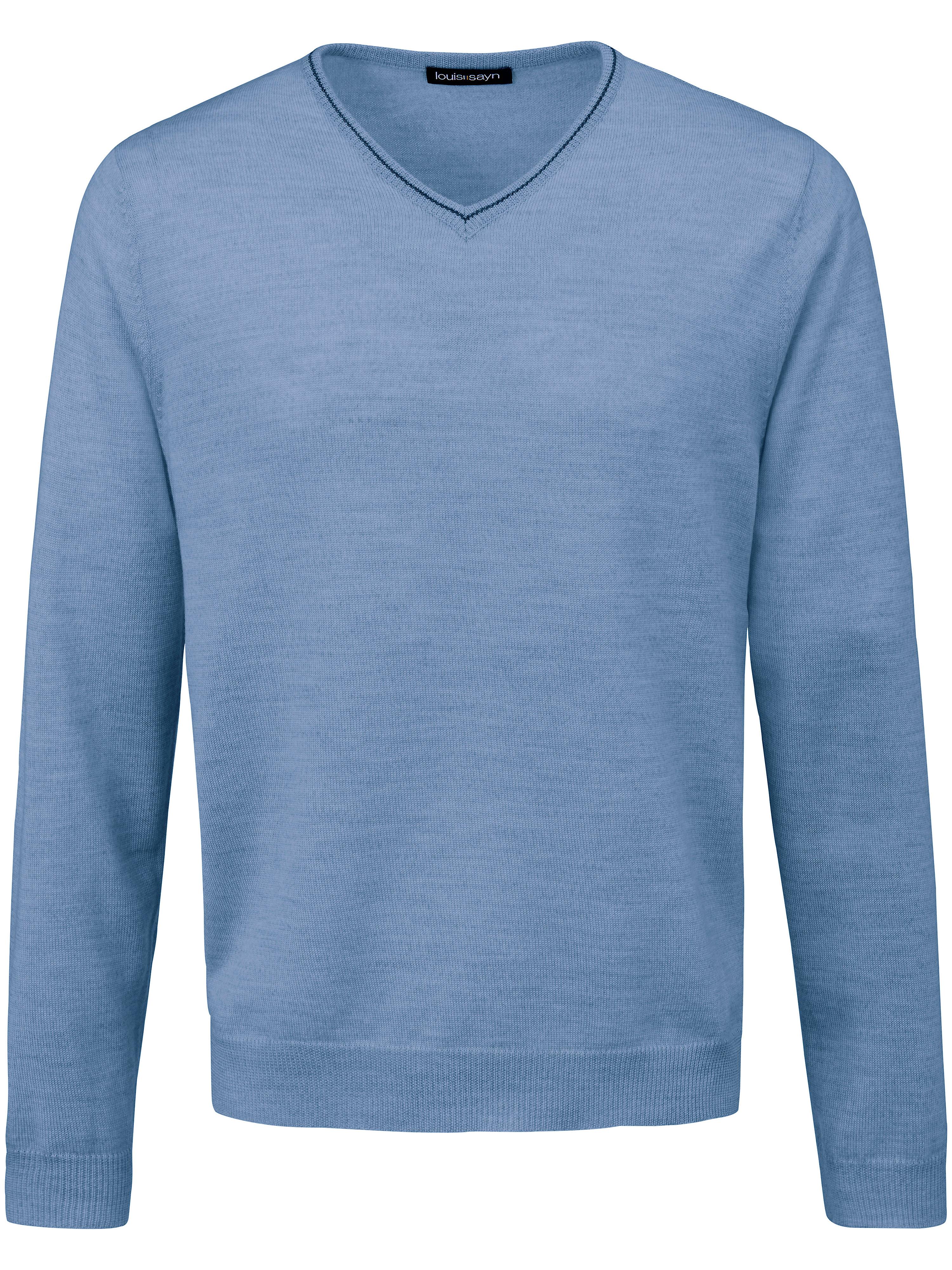 Image of   V-bluse 100% ren ny uld fra Biella Yarn Fra Louis Sayn blå