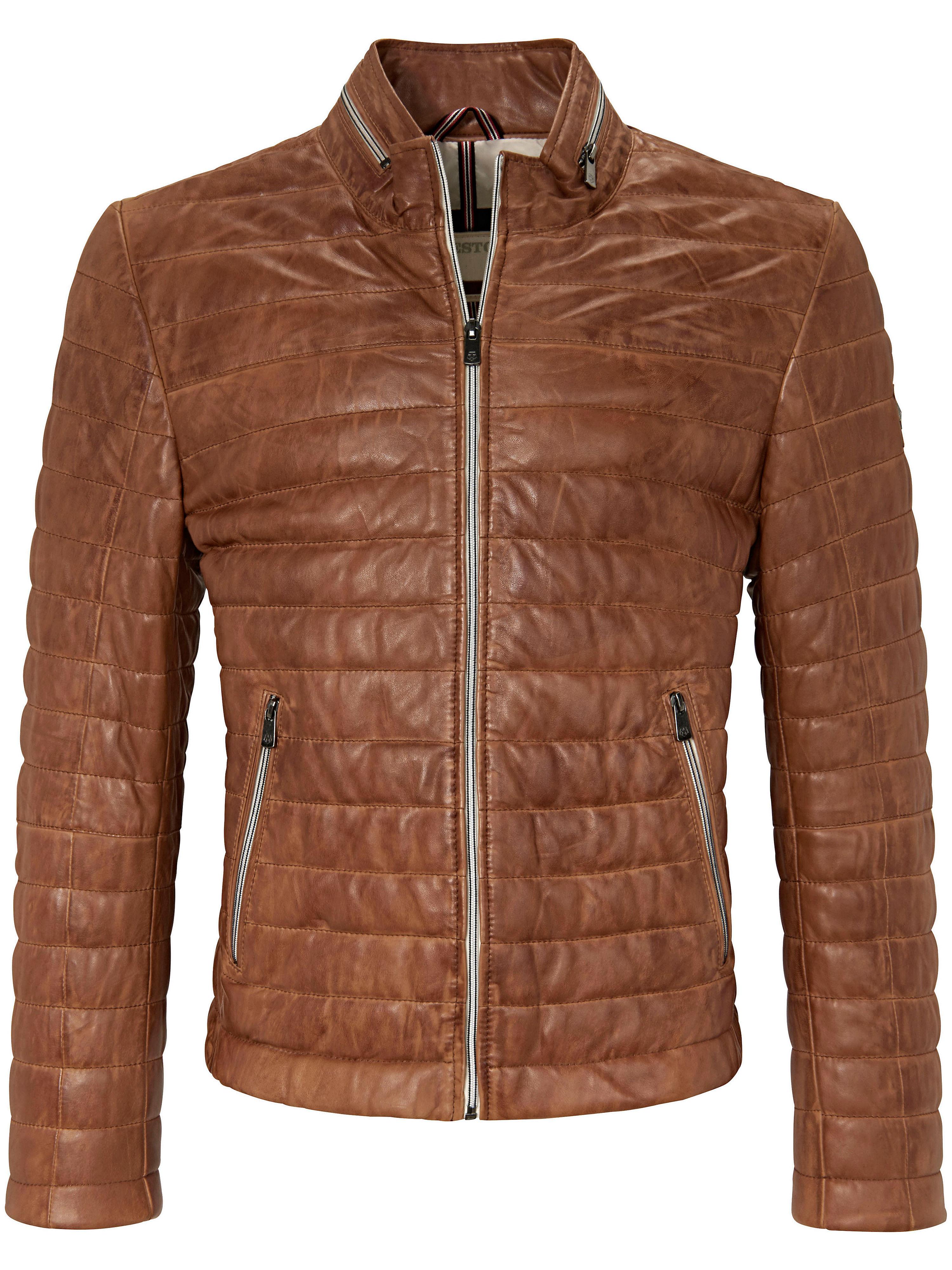 Image of   Quiltet skindblouson 100% skind Fra Milestone brun