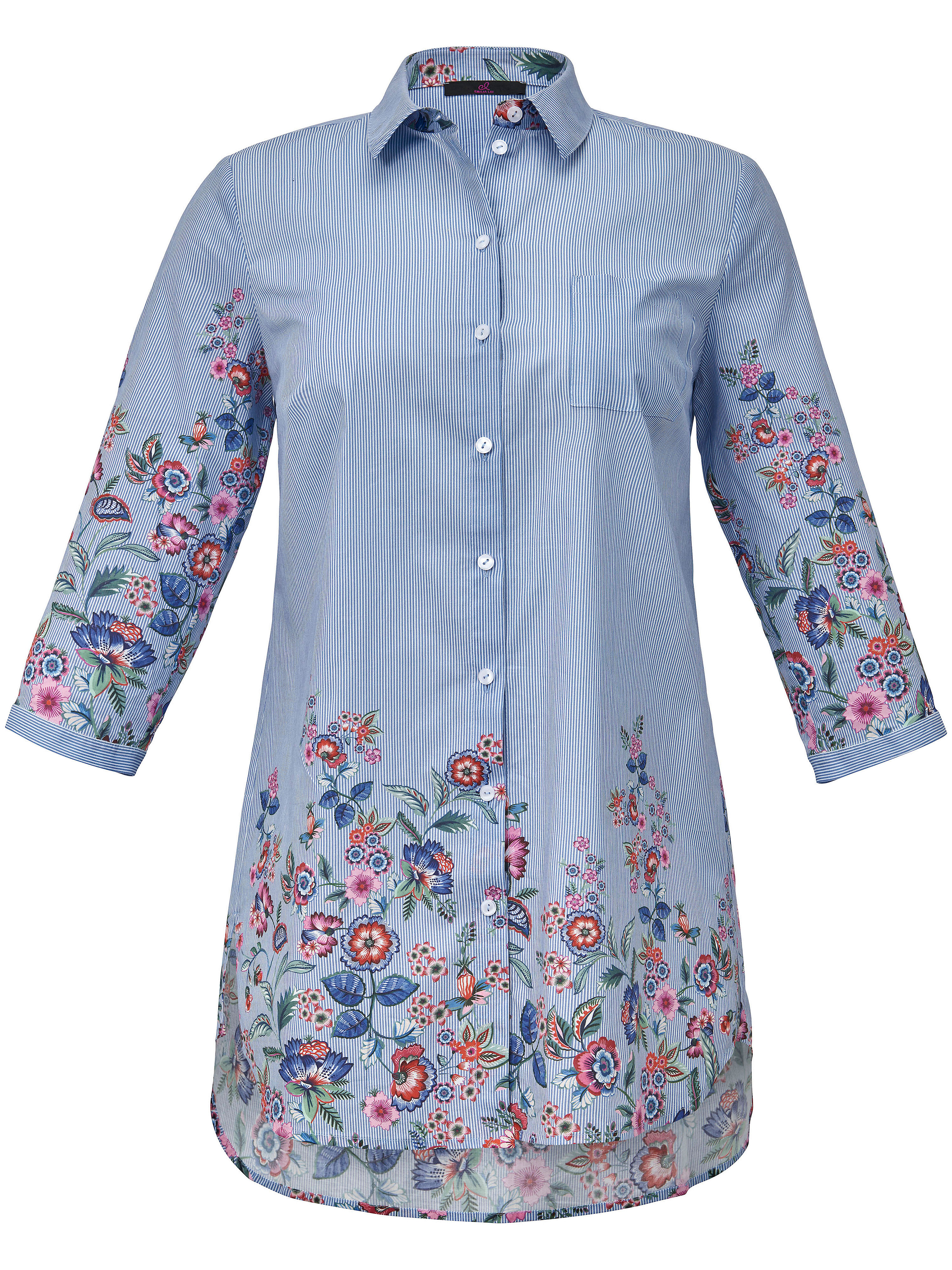 Le chemisier long pur coton, manches 3/4  Emilia Lay bleu taille 44