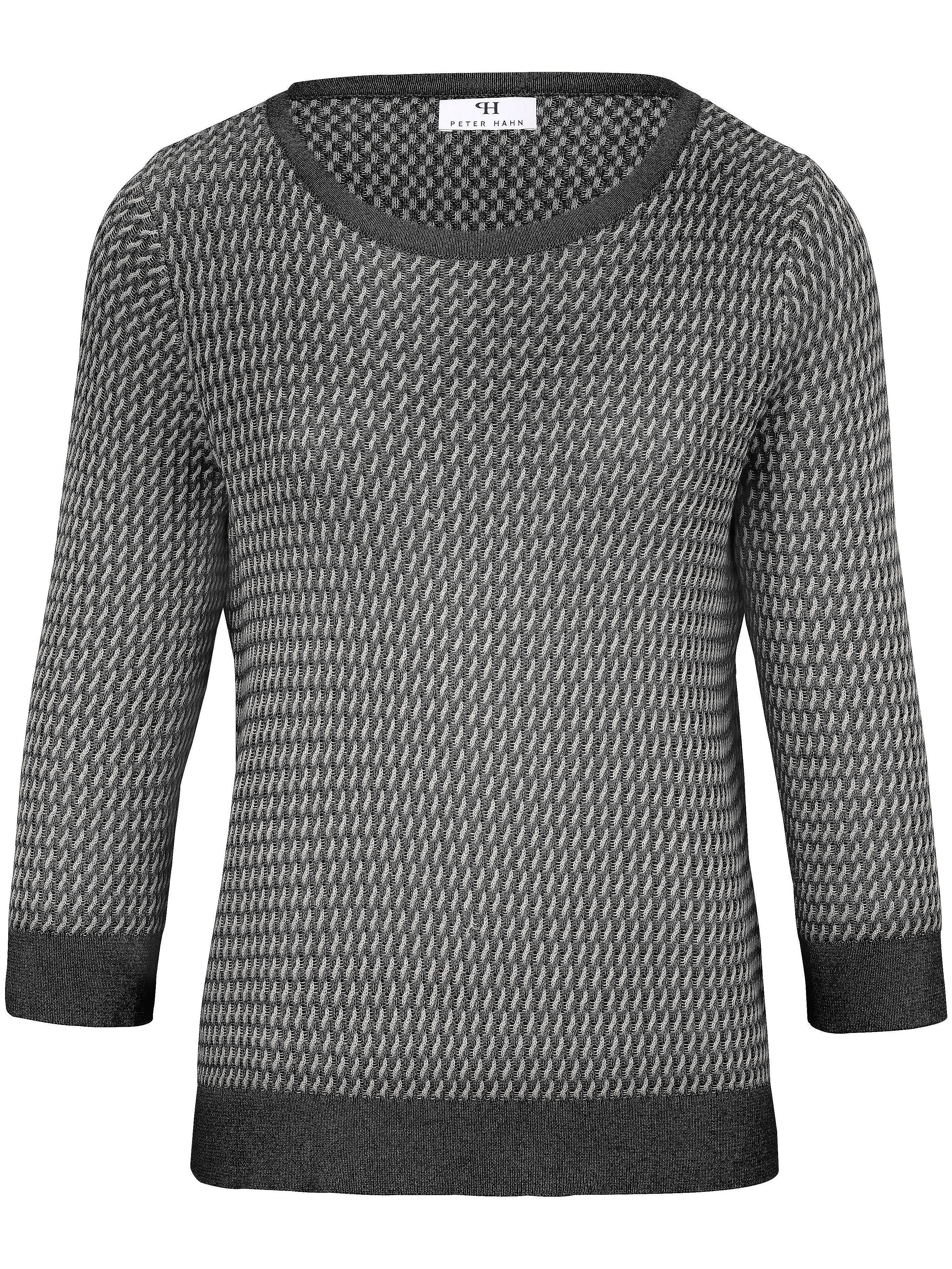Le pull 100% coton Supima® manches 3/4.  Peter Hahn noir taille 52
