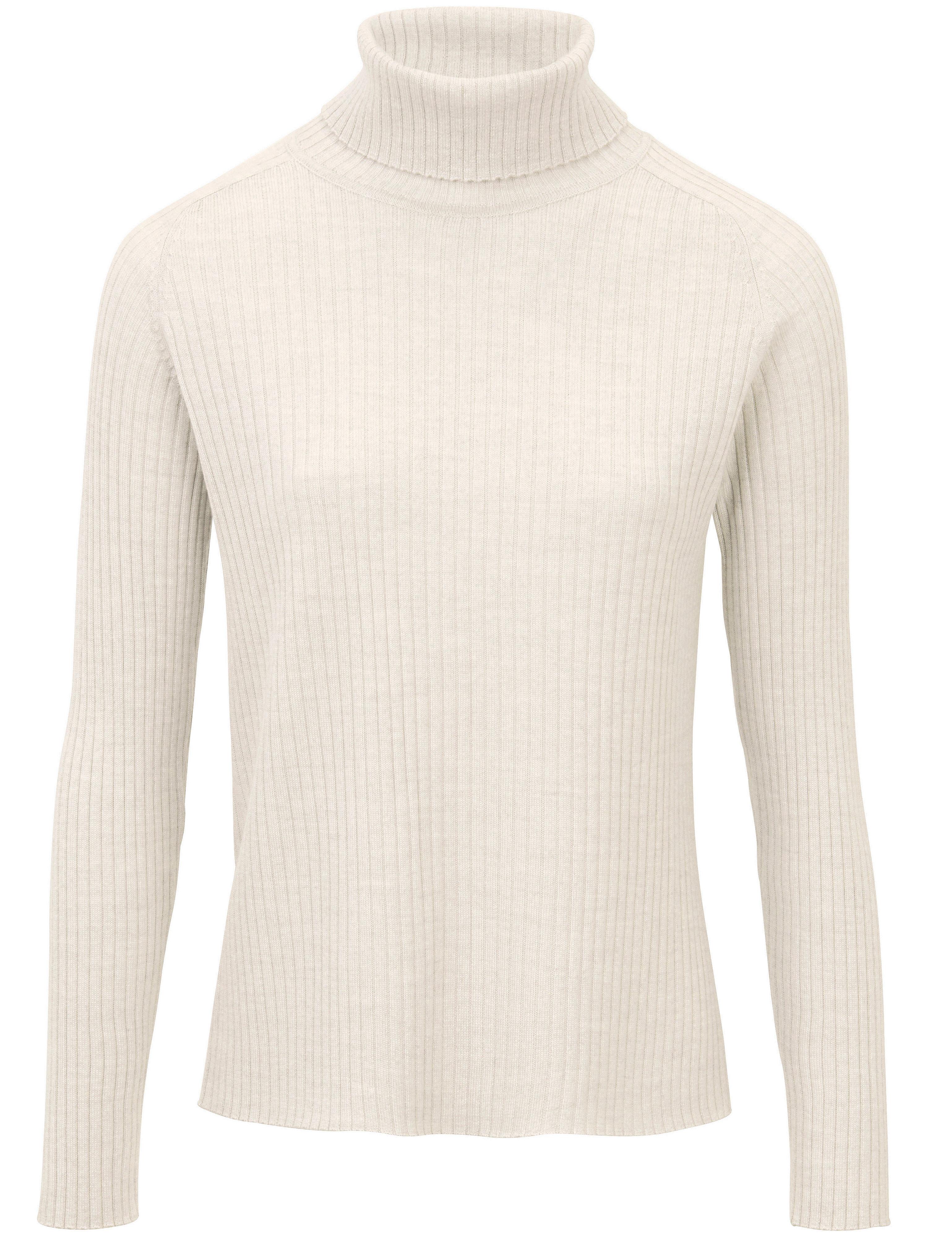 peter hahn - Rollkragen-Pullover aus 100% Schurwolle-Merino  weiss