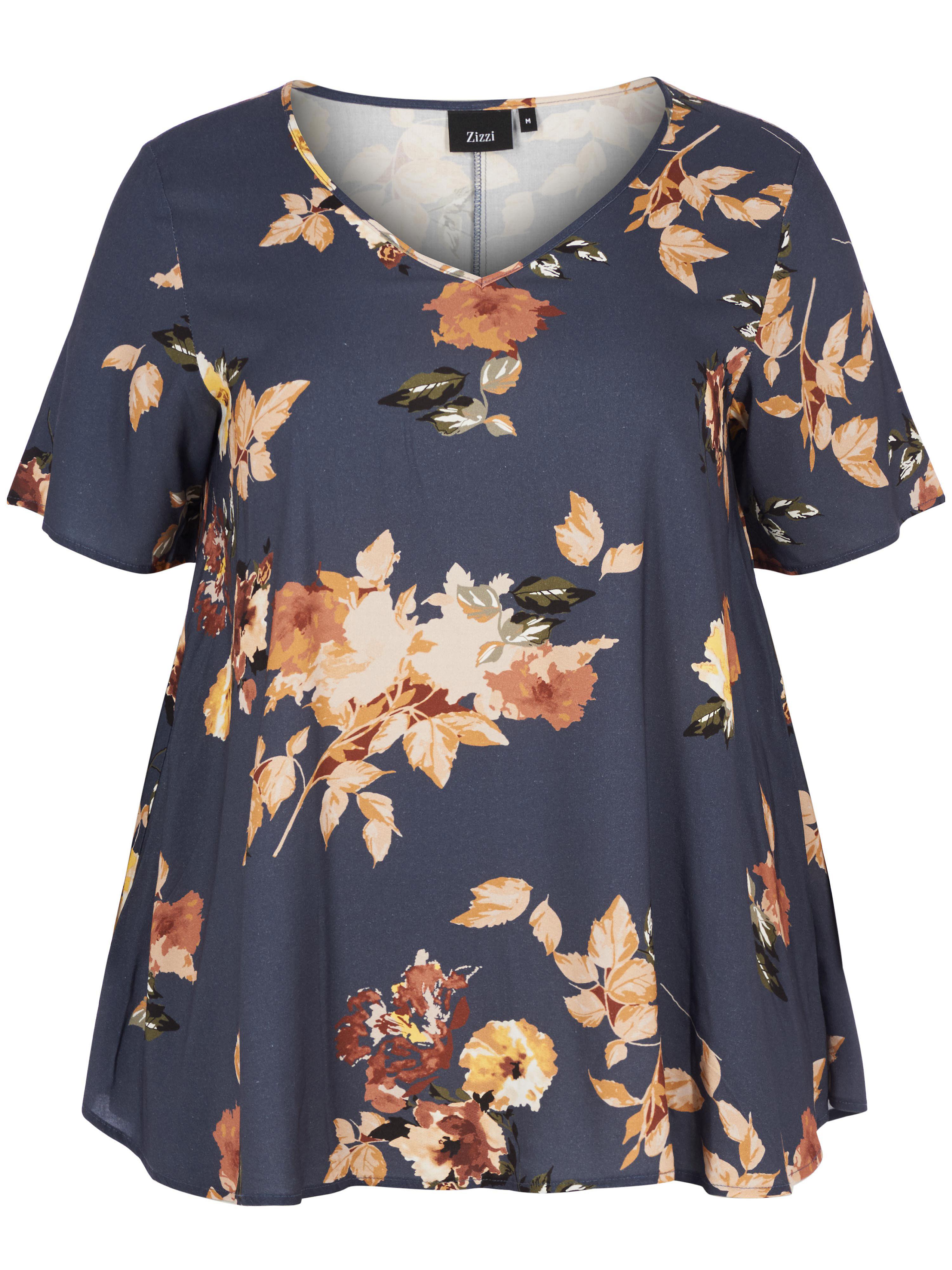 zizzi - Blusen-Shirt V-Ausschnitt  mehrfarbig