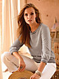 Supima - Round neck jumper with 3/4-length sleeves