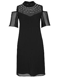 comma, - Kleid mit kleinem Stehkragen