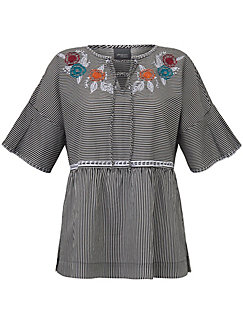 Persona by Marina Rinaldi - Striped blouse with embroidery