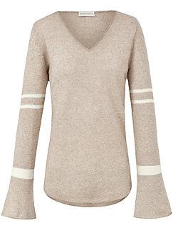 Delicatelove - V-Pullover aus Kaschmir mit Leinen