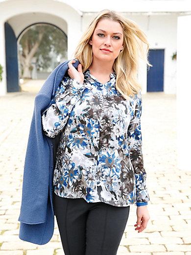 anna aura bluse aus 100 seide mit hemdkragen grau blau. Black Bedroom Furniture Sets. Home Design Ideas
