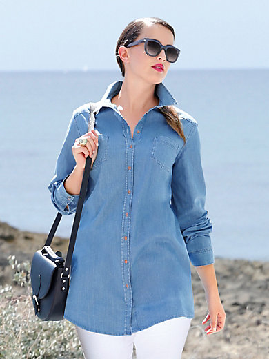 Anna Aura - Jeansbluse in etwas längerem Hemdblusen-Schnitt