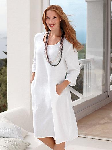 anna aura jurk met 3 4 mouwen wit. Black Bedroom Furniture Sets. Home Design Ideas