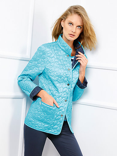 Basler Reversible Quilted Jacket Turquoise Navy