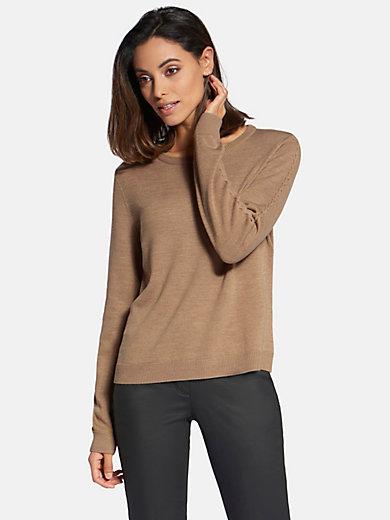 Basler - Round neck jumper in mew milled wool and silk