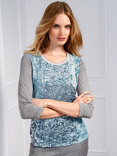 Basler - Round neck top in patchwork look