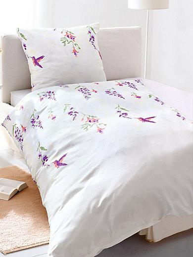 bierbaum bettw sche garnitur ca 135x200cm wei violett. Black Bedroom Furniture Sets. Home Design Ideas