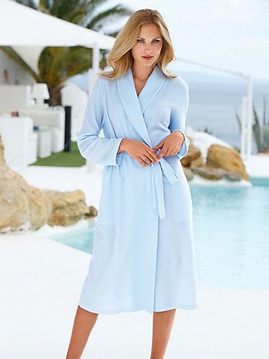 Charmor - La robe de chambre, col châle et ceinture à nouer - bleu e69bad8b566