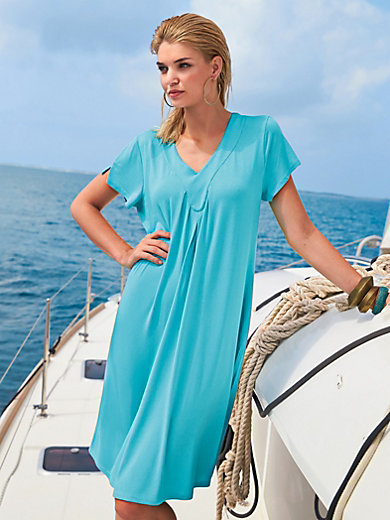 Leisure dress, V-neck and cap sleeves Charmor turquoise Charmor