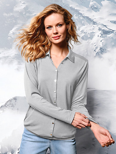 DAY.LIKE - Jersey-Bluse mit Hemdkragen