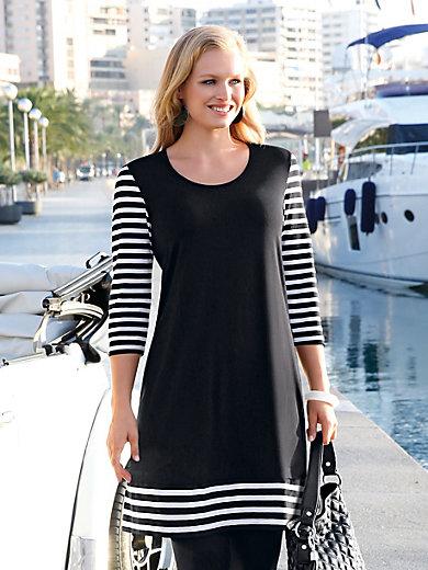 Doris Streich-Jersey-Kleid mit 3/4-Arm-Schwarz/Weiß