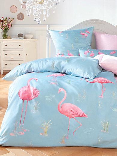 elegante bettw sche garnitur 155x200cm 80x80cm hellblau flamingo. Black Bedroom Furniture Sets. Home Design Ideas