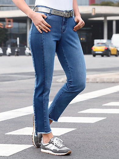 Emilia Lay - Knöchellange Jeans mit Fransensaum