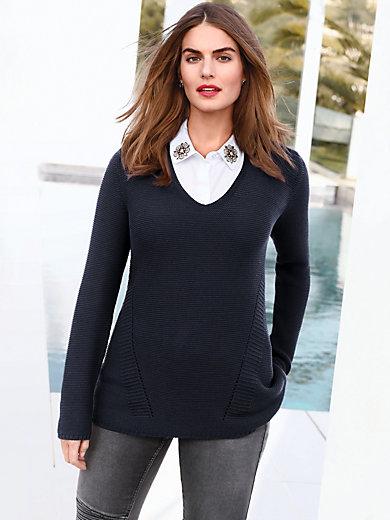 Emilia Lay - V-Pullover mit Strick-Strukturen